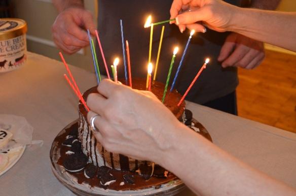 lighting the cake