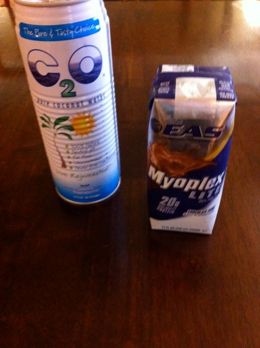 1/2 a can of coconut water with EAS Myoplex Lite! YUM