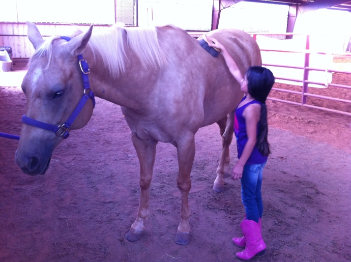 Sweet Mackenzie brushing Lilly before her lesson.
